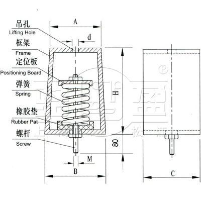 zty型弹簧减震器产品结构设计合理